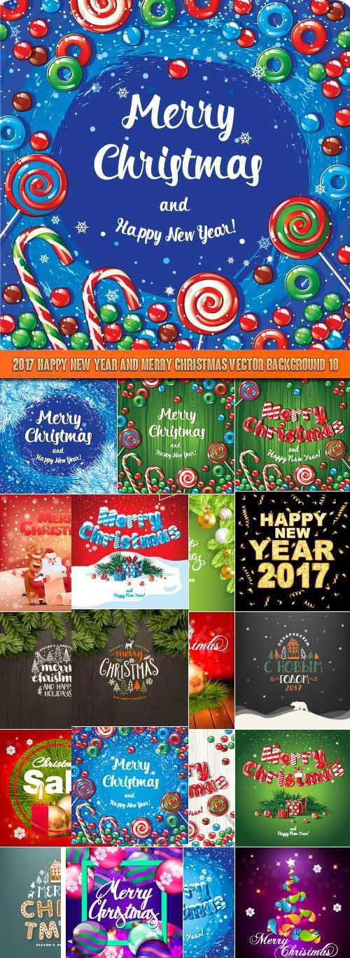 2017 Happy New Year and Merry Christmas vector background 10