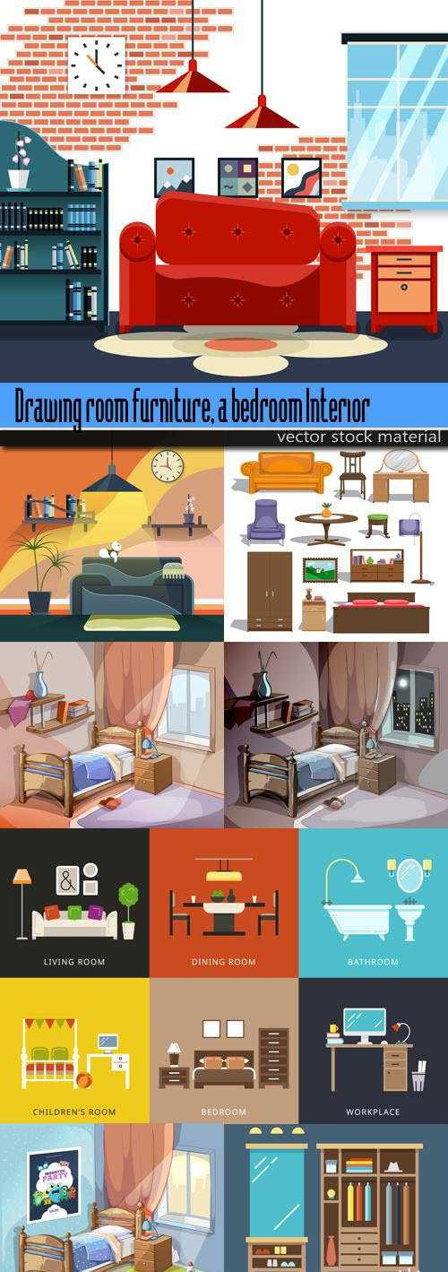 Drawing room furniture, a bedroom Interior in animation style 3