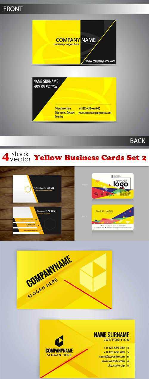 Vectors - Yellow Business Cards Set 2