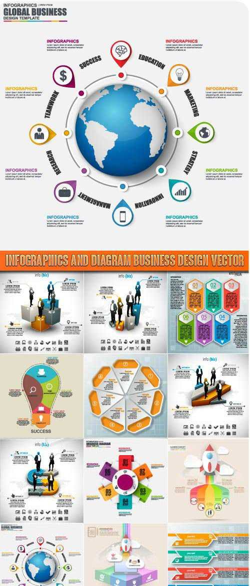 Infographics and diagram business design vector