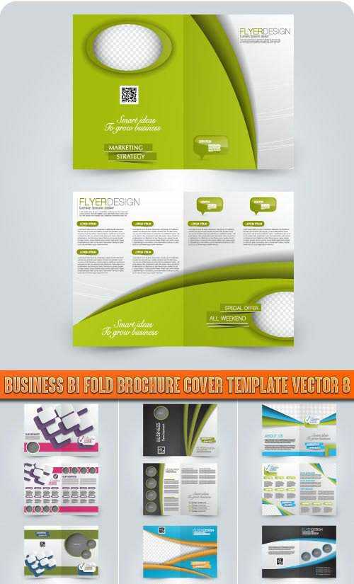 Business bi fold brochure cover template vector 8