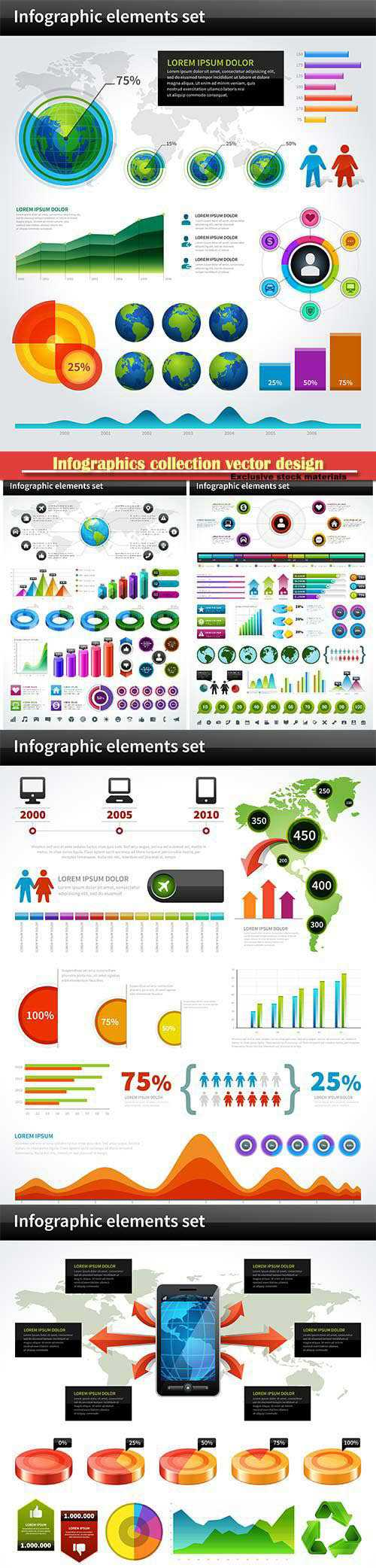 Infographics collection vector design elements, business presentation
