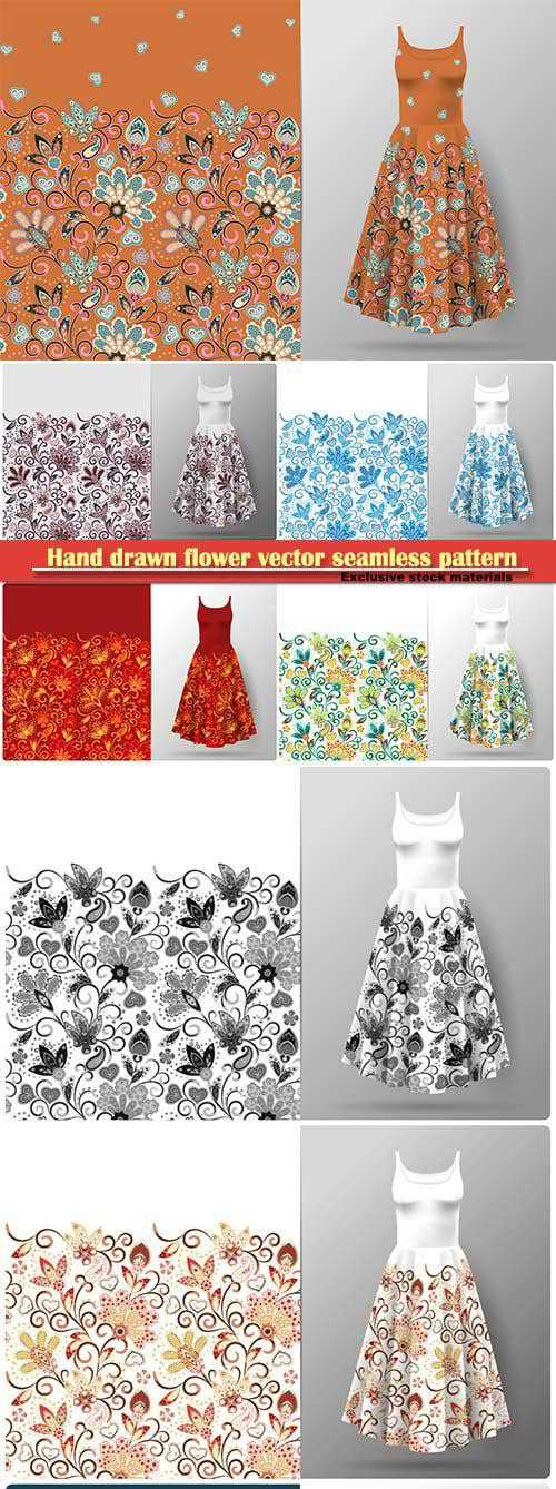 Hand drawn flower vector seamless pattern in eastern style