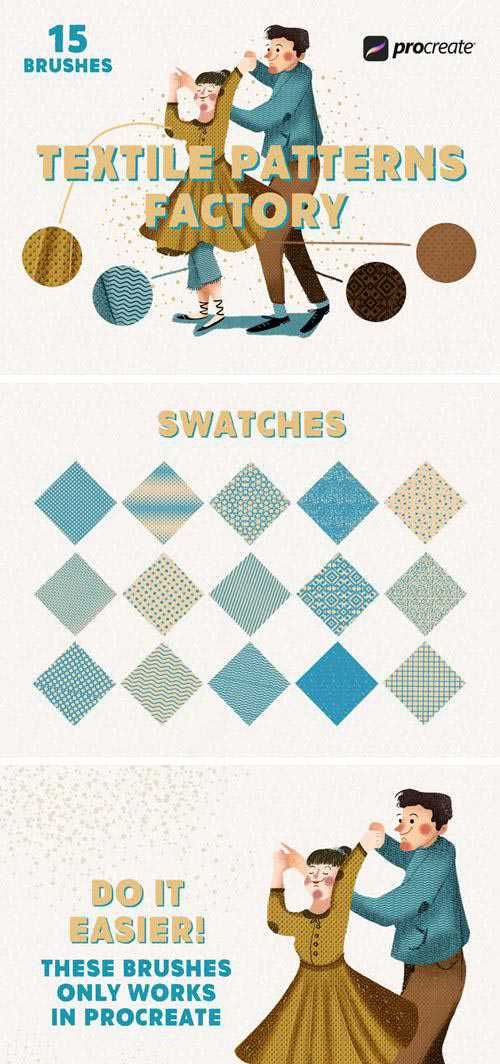 15 Textile Patterns Factory Brushes & Swatches for Procreate