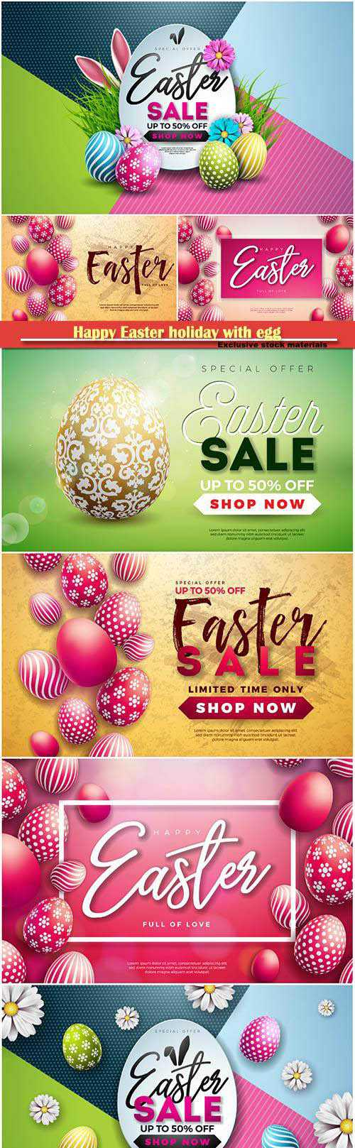 Happy Easter holiday with egg and spring flower vector illustration # 2