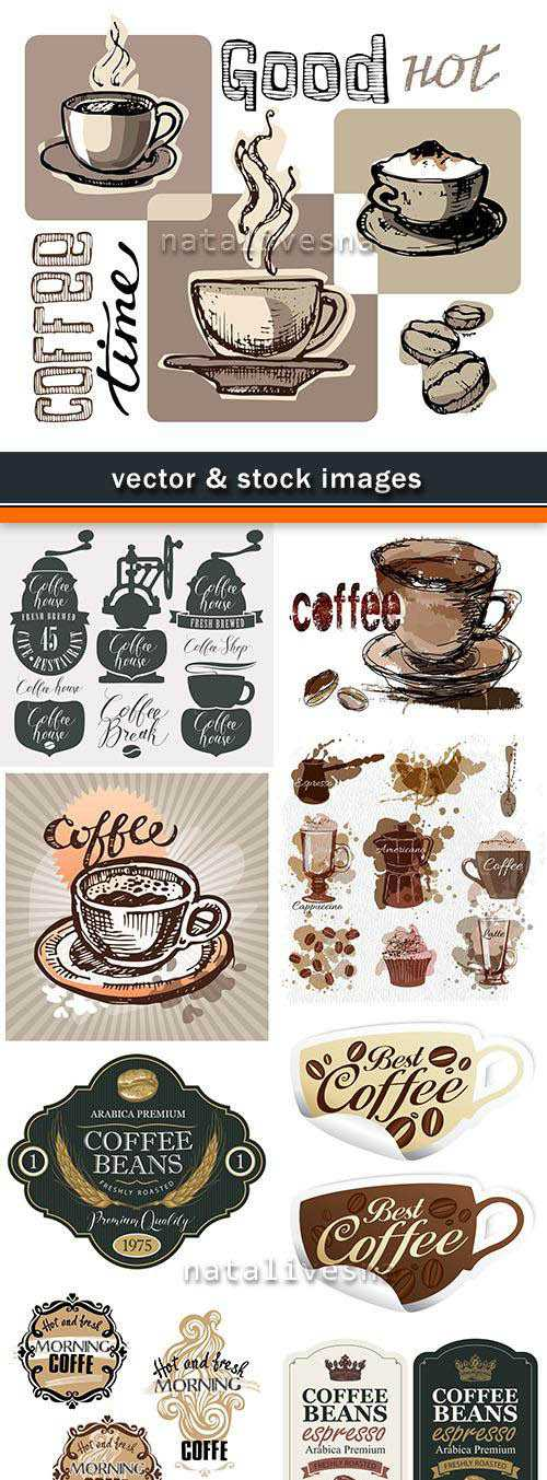 Coffee shop and cup fragrant cappuccino breakfast set labels