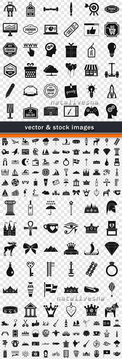 Set of vector icons and symbols pictograms