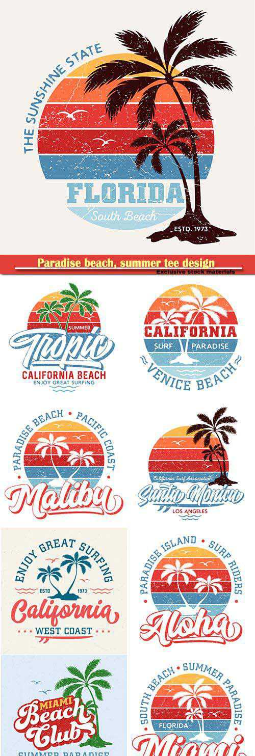 Paradise beach, summer tee design for printing