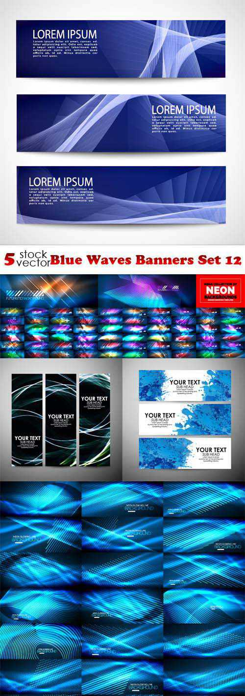 Blue Waves Banners Set 12