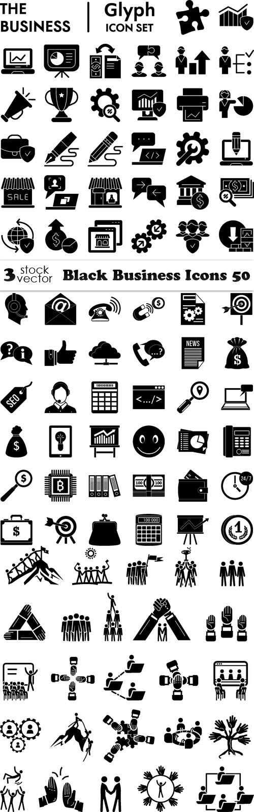 Black Business Icons 50