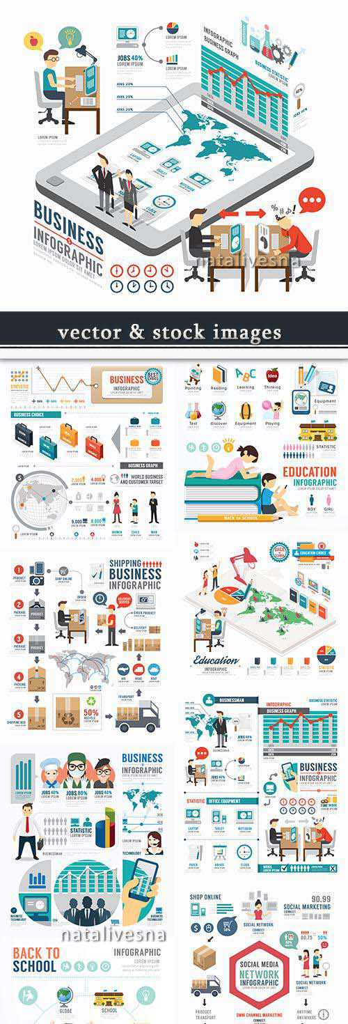 Business infographics options elements collection 55