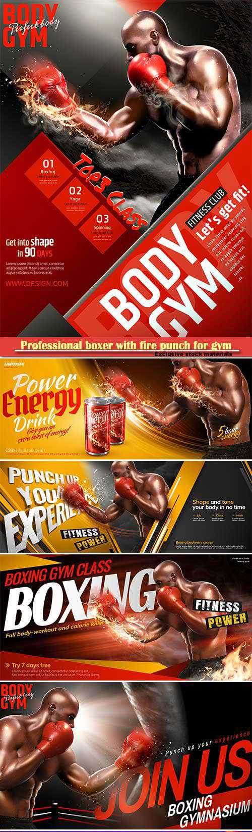 Professional boxer with fire punch for gym class poster in 3d illustration