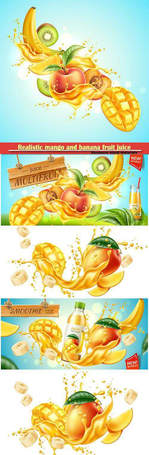 Realistic mango and banana fruit juice advertising , vector product package design