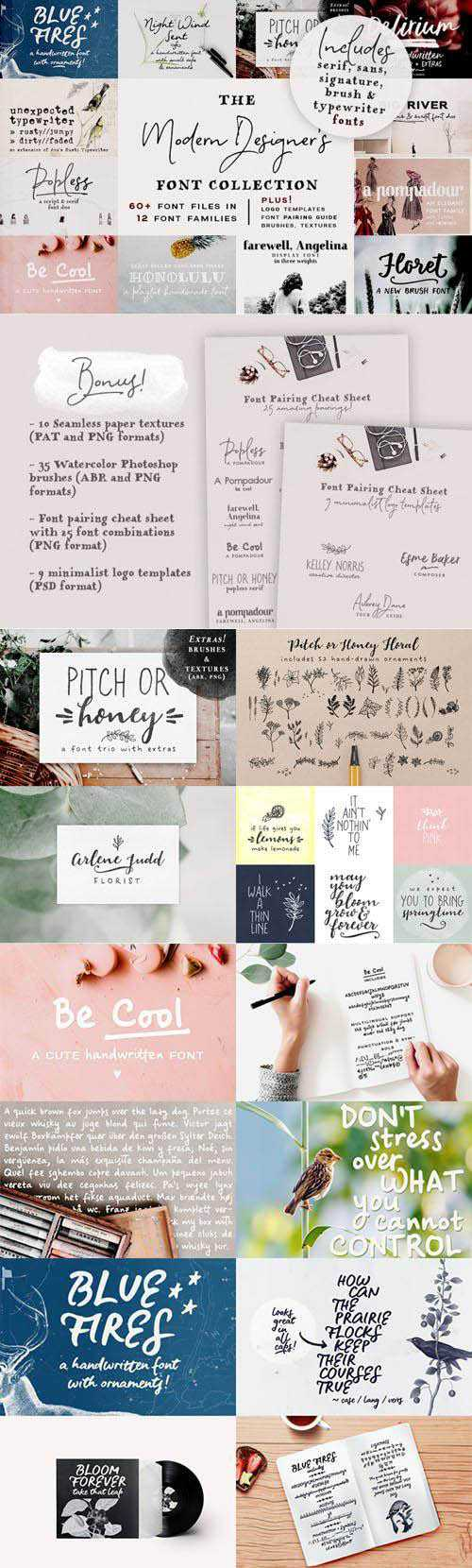 The Modern Designer's Font Collection + 9 Logo PSD Templates