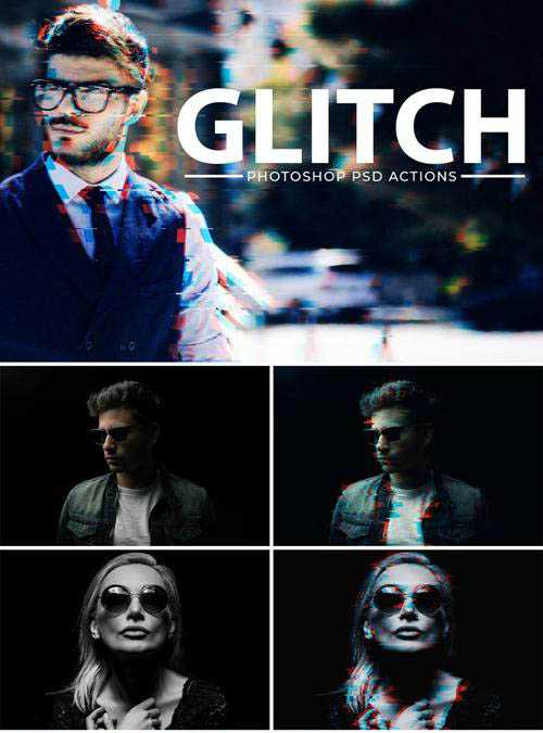 Glitch Effect & Vhs Effect Photoshop Action