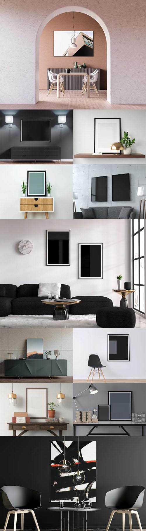 15 Realistic Poster PSD Mockups Collection – Made with Cinema 4D !