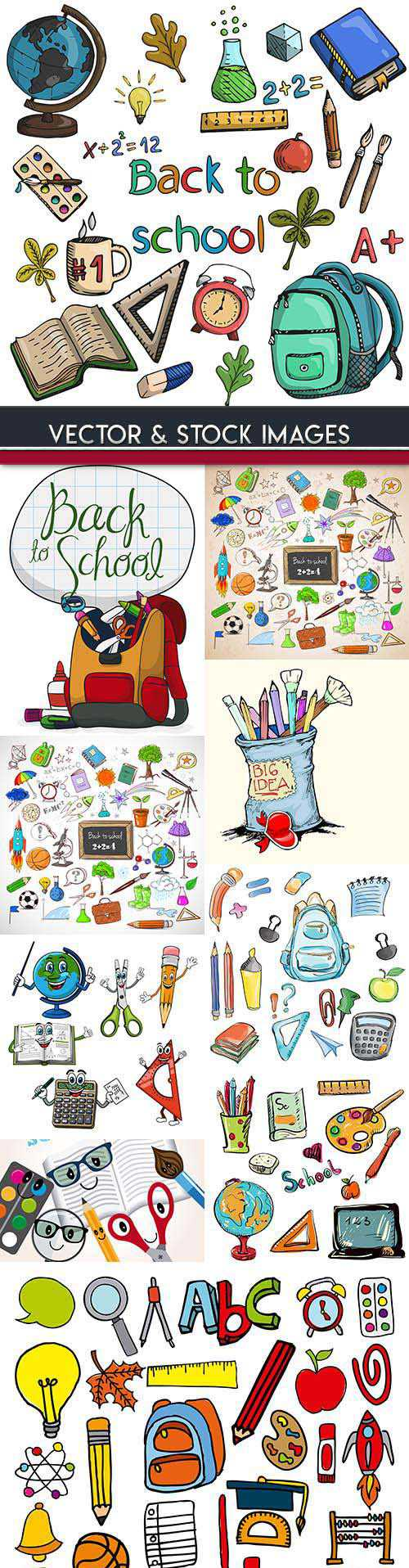 Back to school and accessories collection illustrations 23