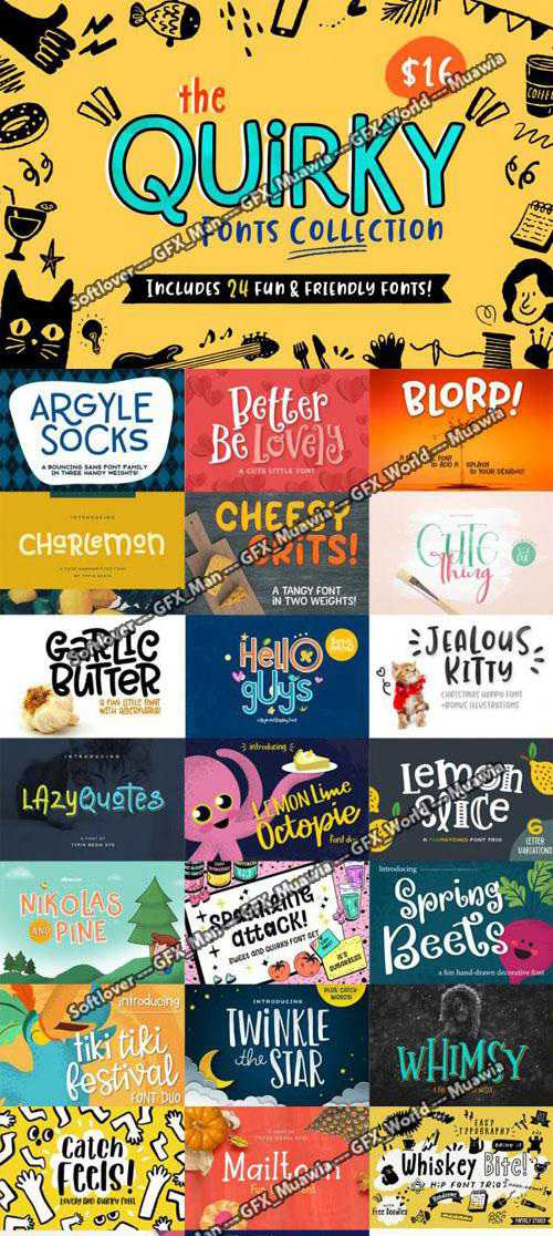 Quirky Fonts Collection – 24 Font