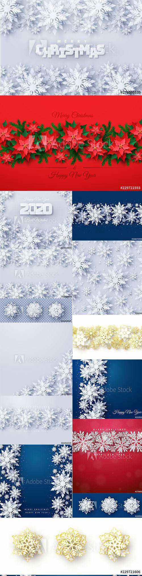 Vector set of New Year 2020 and Christmas Design AI Backgrounds Vol3
