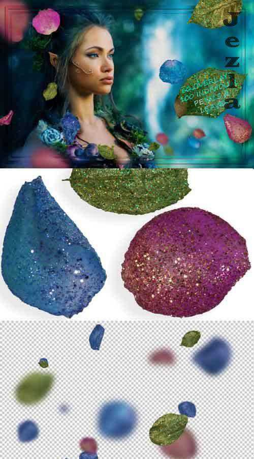 Glitter Blue and Pink & Leaves Overlays