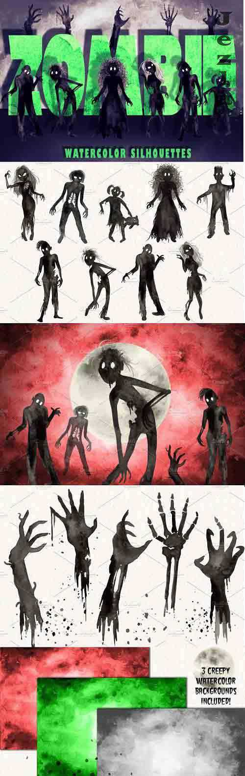 Watercolor Zombie Silhouettes – 5265161