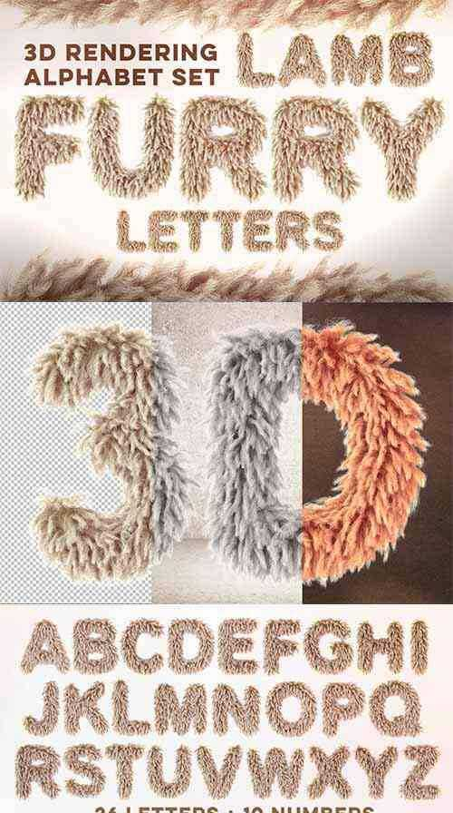 Lamb Furry Letters Pack
