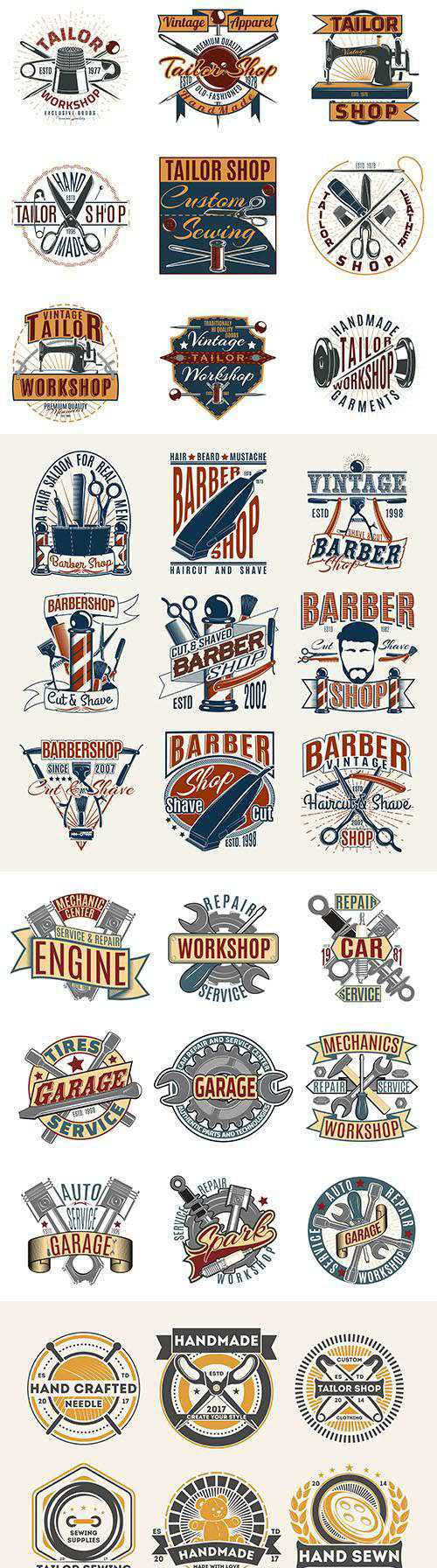 Vintage antique emblems and logos with text design