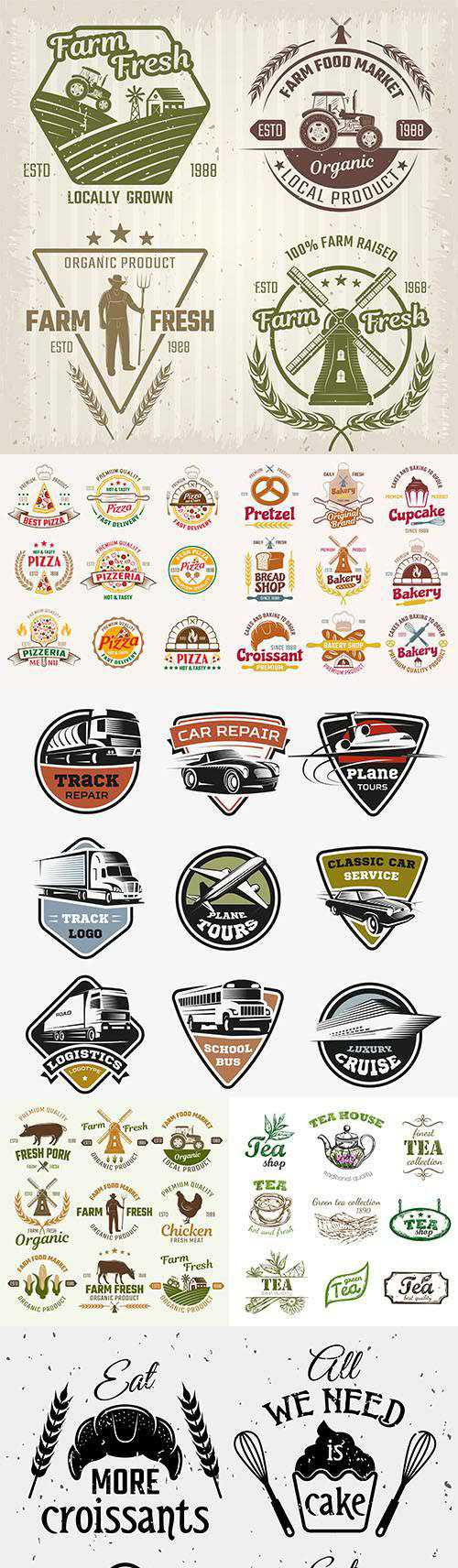 Vintage logo and emblem brand Name Company design 3