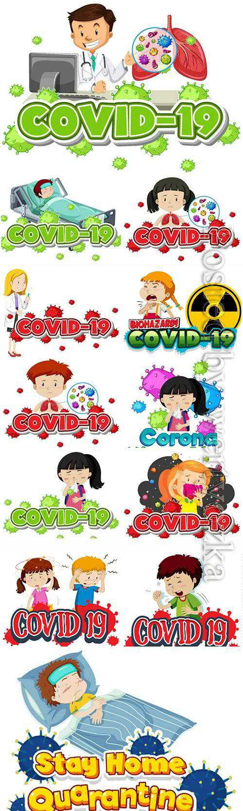 COVID 19, Coranavirus vector illustration sets # 18