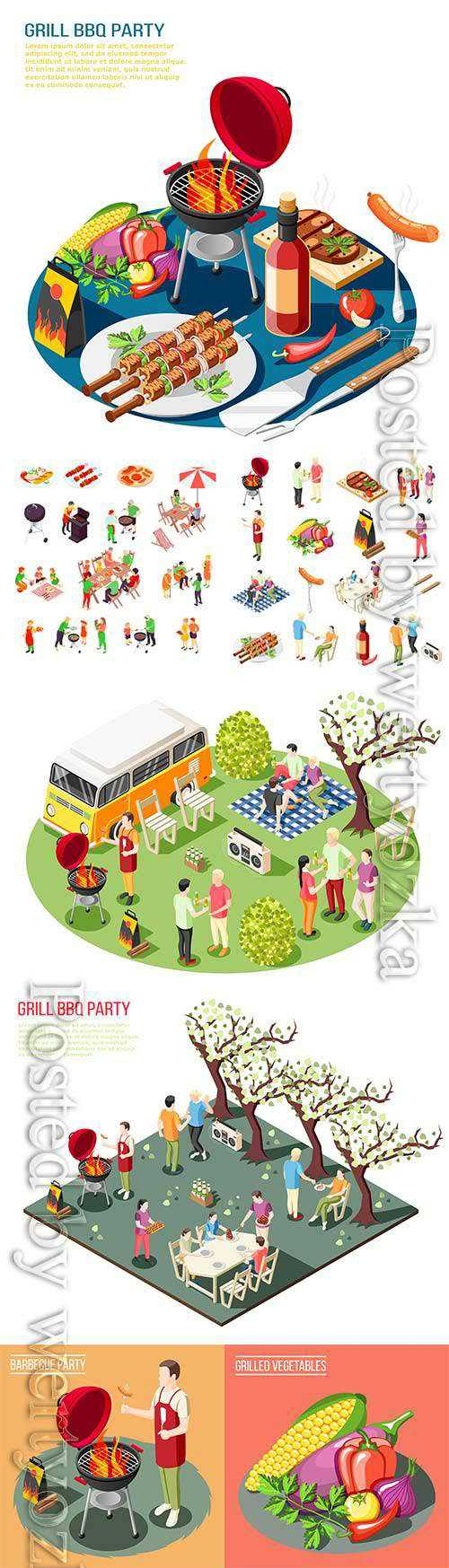 Barbecue grill party isometric icons collection with isolated icons grill food outdoors grill and people
