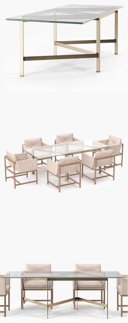 BassamFellows Plank Dining Table & Dining Side Chair