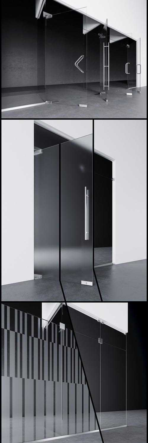 Swinging pendulum glass doors for office and home