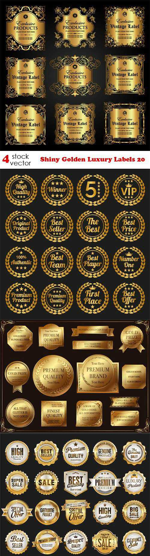 Vectors – Shiny Golden Luxury Labels 20