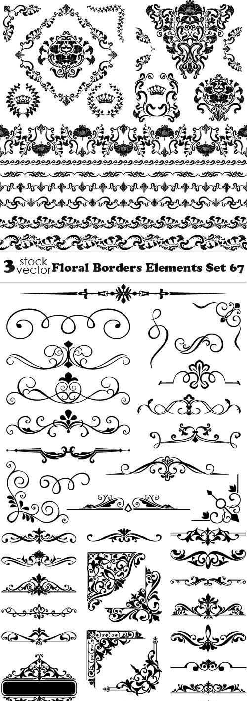 Vectors – Floral Borders Elements Set 67