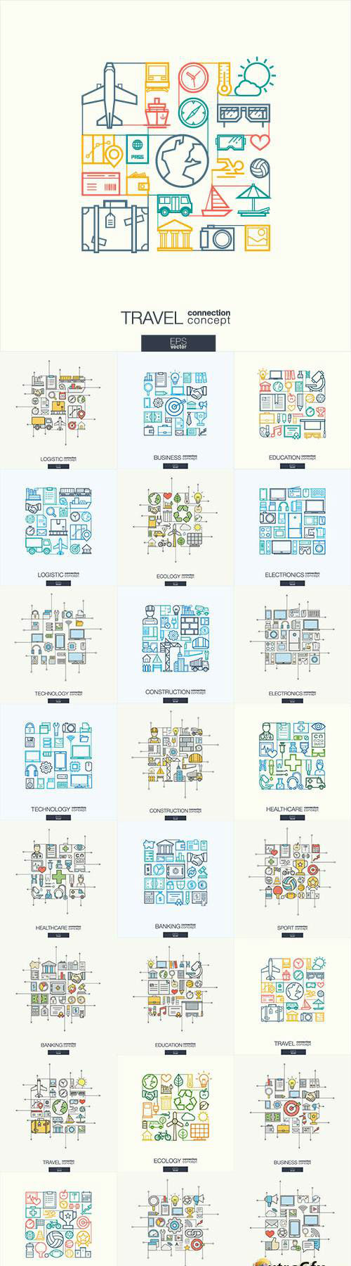 Thin line flat design of icons 08