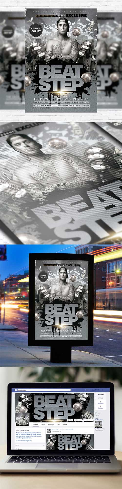 Flyer Template - Beat Step + Facebook Cover 2