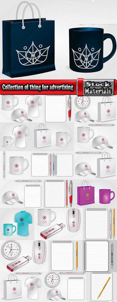 Collection of thing for advertising cap cup shirt ballpen