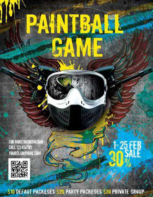 Paintball Game Sport V3 Flyer PSD Template + Facebook Cover 5