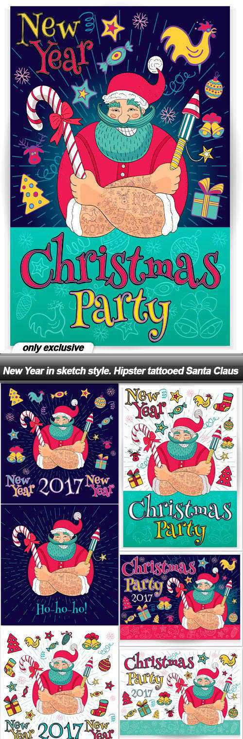 New Year in sketch style. Hipster tattooed Santa Claus – 9 EPS