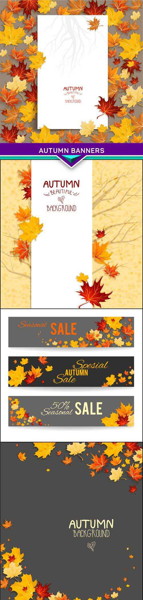 Autumn banners 5X EPS