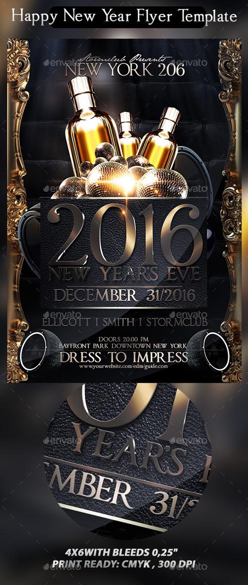 Happy New Year Flyer Template 13623466