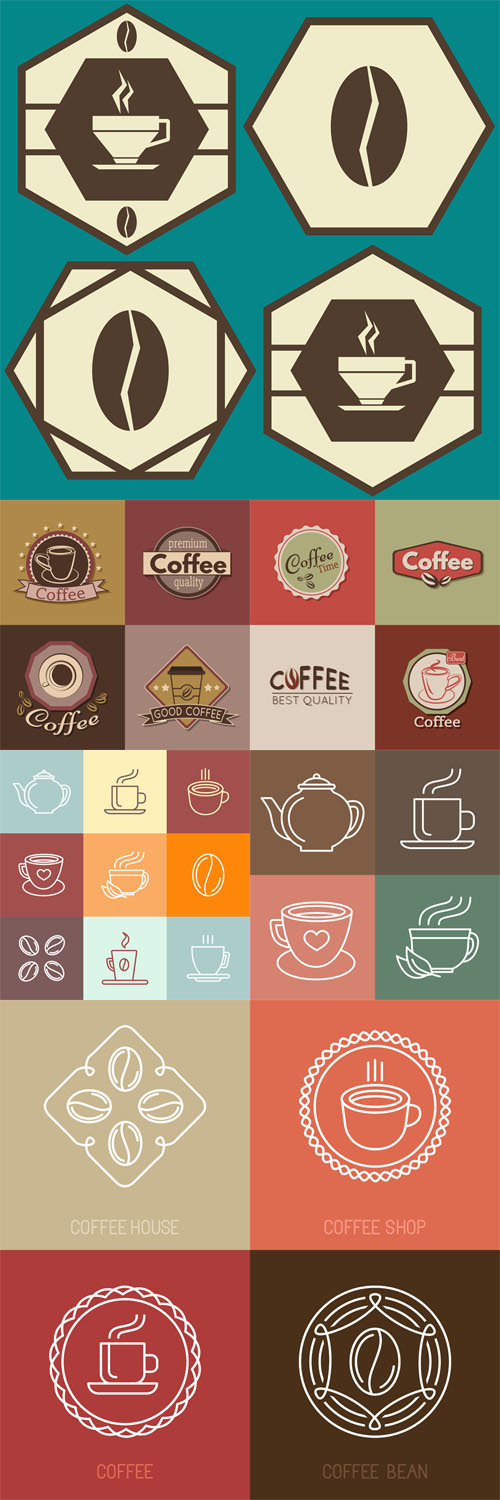 Vector Set of coffee labels, badges and logos 3