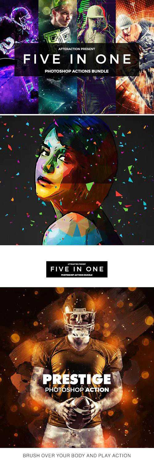 Five in 1 Photoshop Actions Bundle 21190968