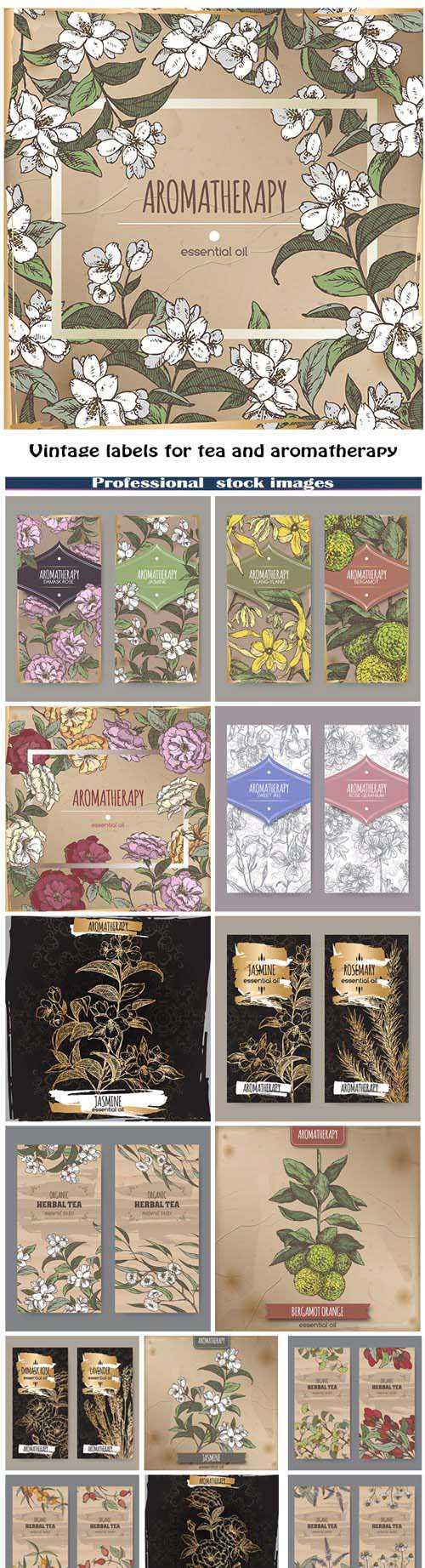 Vintage labels for tea and aromatherapy