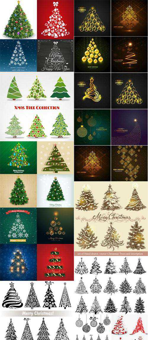 Realistic Trees Design Elements in Vector Collection 2