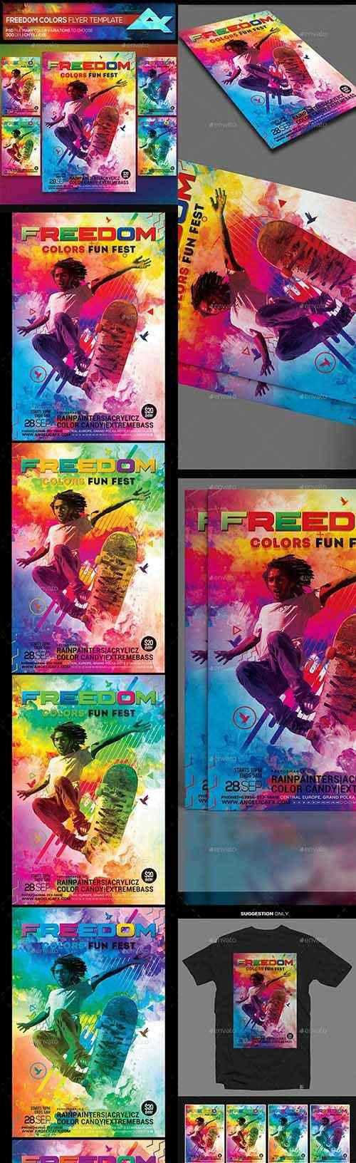 Freedom Colors Fun Fest Photoshop Flyer Template 22356183