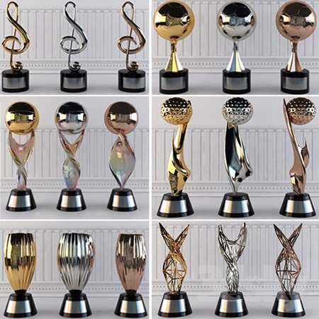 Award Prize Cup Trophy Set 18 Piece Decorative Objects