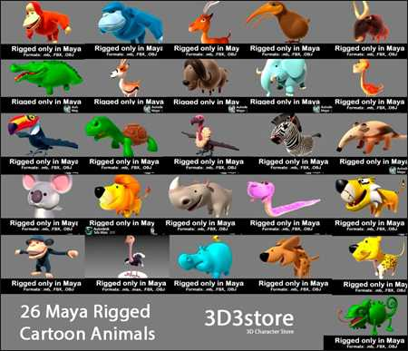 Max  3D3Store 26 Animals Collection All Rigged