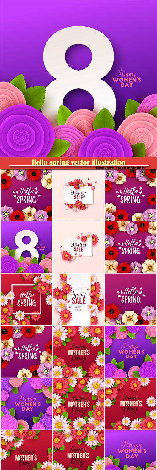 Hello spring vector illustration, Happy Women's Day, 8 March, spring flower set 3