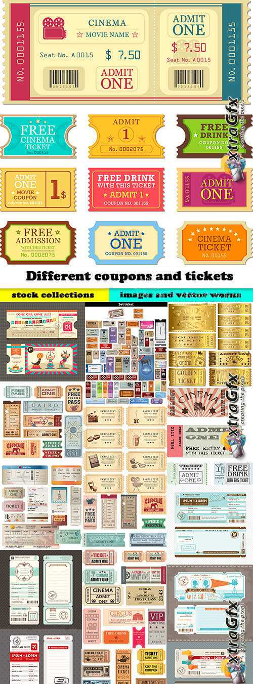 Different coupons and tickets in vector from stock - 25 Eps